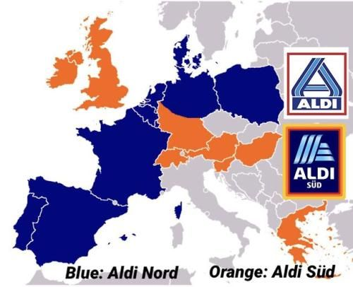 Europe Divided By Which Aldi Branch Is Used Branch Map Aldi