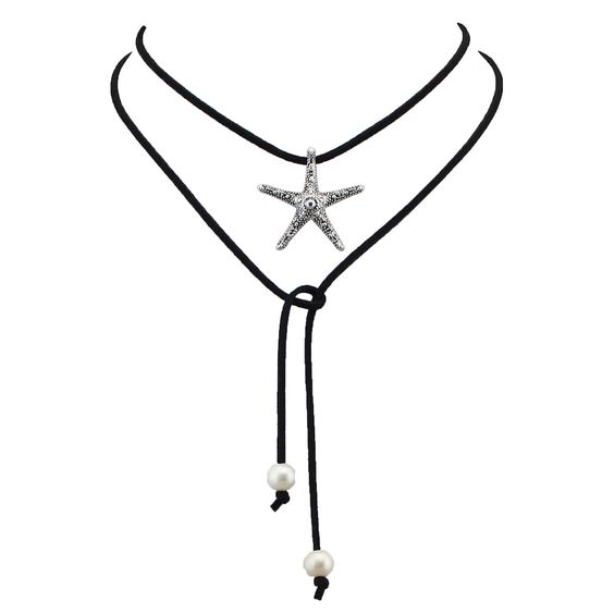 Amazon.com: Long Black PU Leather Wrap Necklace Stretch, Strand Choker with Starfish Silver Pendant, Adjustable DIY Style: Jewelry: