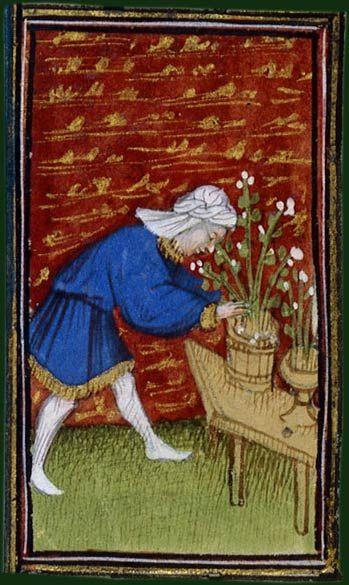 Le jardinier - Heures de René d'Anjou. Paris, BnF, département des Manuscrits, Latin 1156A, fol. 4: