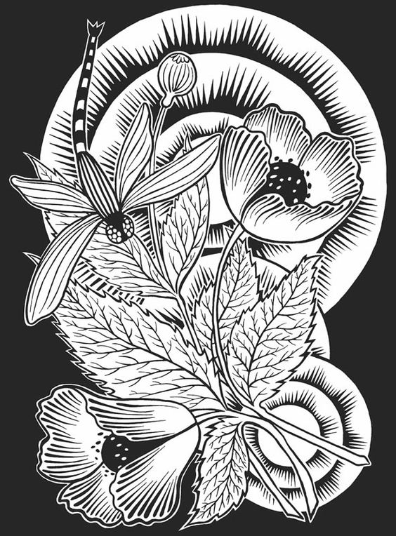Spring Flower Coloring Pages | Dragonfly Flowers Tattoo ...