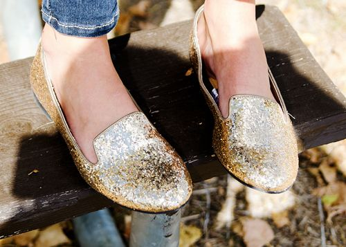 Gold glitter loafers... Where can I get these?!?