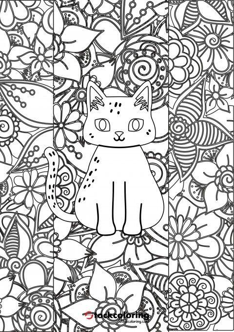 Floral Cat Coloring Page #floral #cat #mandala ...