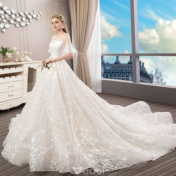 Elegant Champagne Wedding Dresses 2018 Ball Gown Lace Star Pearl
