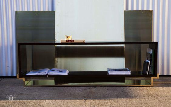 Bookcase L, Pau Santo struture with shellac finish, polished and glazed brass base | Abelha Mukaki www.abelhamukaki.com