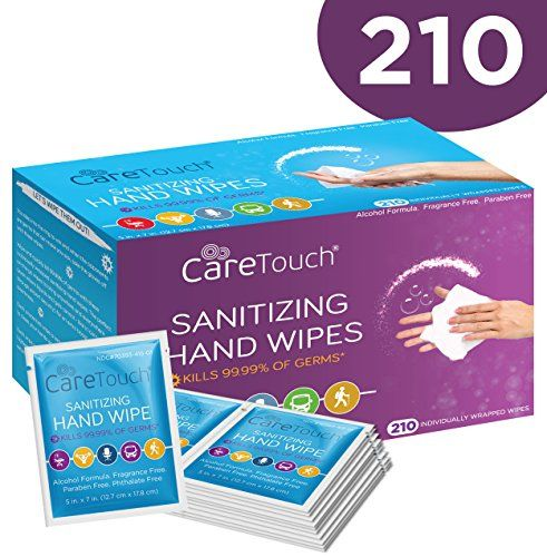 Care Touch Antibacterial Hand Sanitizer Wipes 210 Individually
