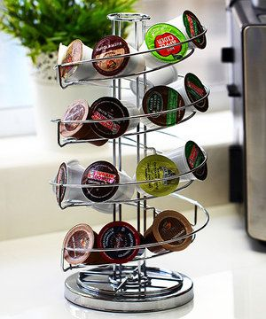 With an elegant spiraling design, this K-Cup holder serves both fashion and function. With space to hold a variety of K-Cups, this slim organizer keeps each kind and flavor in plain sight for convenience.