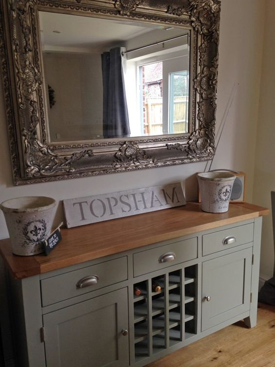Caldecote French Grey Sideboard with Wine Rack Oakley, Painted drawers and French
