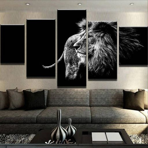 Framed Black And White Lion Multi Piece Canvas Painting Wall Art Sets Home Decor Images Available In Various Canvas Paintings Sizes With Piece Decoracion De Unas