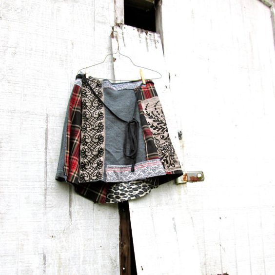 falda patchwork Funky día / envoltura falda de por CreoleSha
