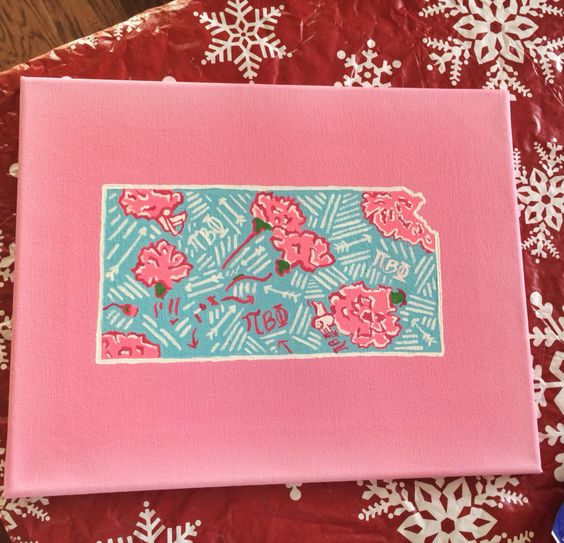 Pi Beta Phi sorority Lilly Pulitzer print canvas