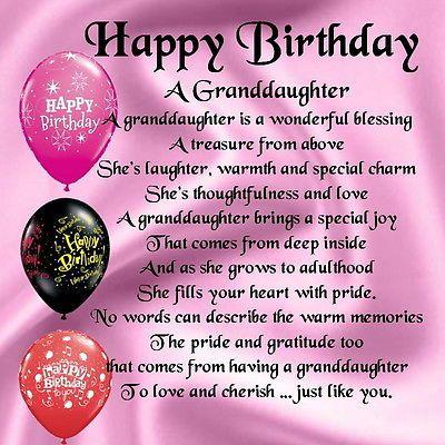 Personalised Coaster - Granddaughter Poem - Happy Birthday ...
