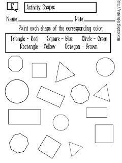 Esta ficha ha sido creada para que el niño/a aprenda a reconocer las distintas figuras geométricas en inglés. El niño/a debe colorear las figuras de acuerdo al color que se indica en el recuadro superior de la imagen.