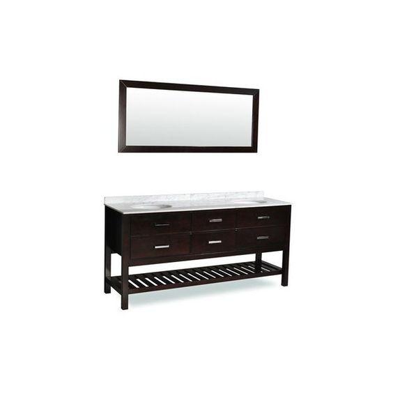 "Ariel DT2D4-72 72"" Nautica Floor-Standing Modern Double Vanity Set - ($1,459) ❤ liked on Polyvore featuring home, home improvement, plumbing, double, espresso, fixture and vanity"