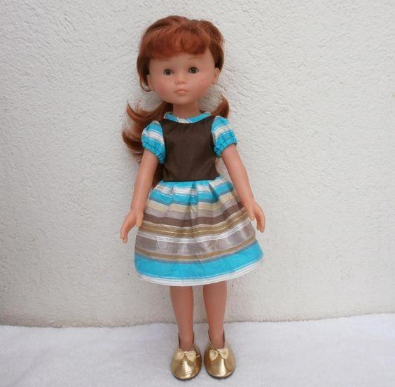 Habits Les Chéries - Robe de soirée en satin et taffetas tons marron/turquoise : Jeux, jouets par mcl-poupees
