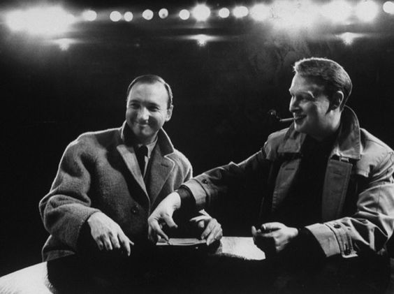 Neil Simon (left) and Mike Nichols after a performance of The Odd Couple