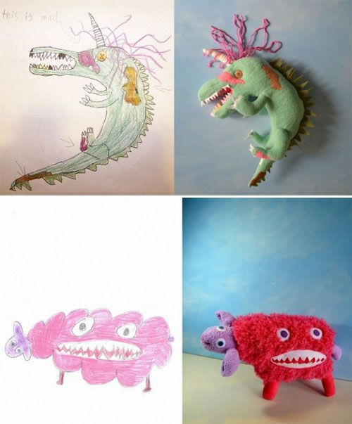kids drawings made into toys <3
