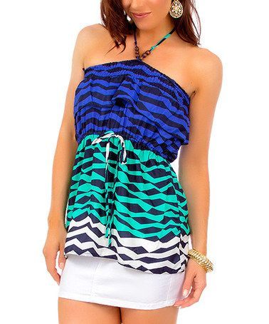 Another great find on #zulily! Royal Blue & Green Stripe Halter Top #zulilyfinds