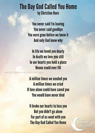 The Day God Called You Home (poem) | Dreaming Of You/In ...