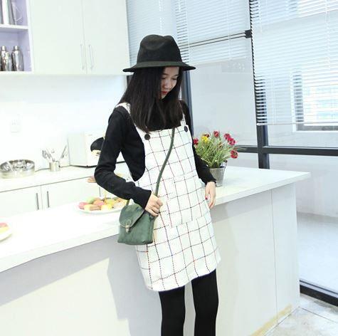 fashion Woolen strap dress female Spring Korean Institute of wind Harajuku small fresh sweet lady cute loose plaid suspenders