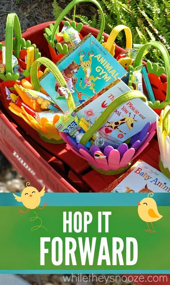 Hop It Forward - Spreading Random Acts of Hoppiness at Nemours Children's Hospital ~ Easter baskets for children via While They Snooze Blog >> #WorldMarket Easter Traditions, Random Acts of Kindness, Easter Baskets