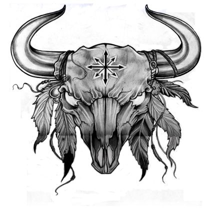 Cow skull tattoo flash - photo#16