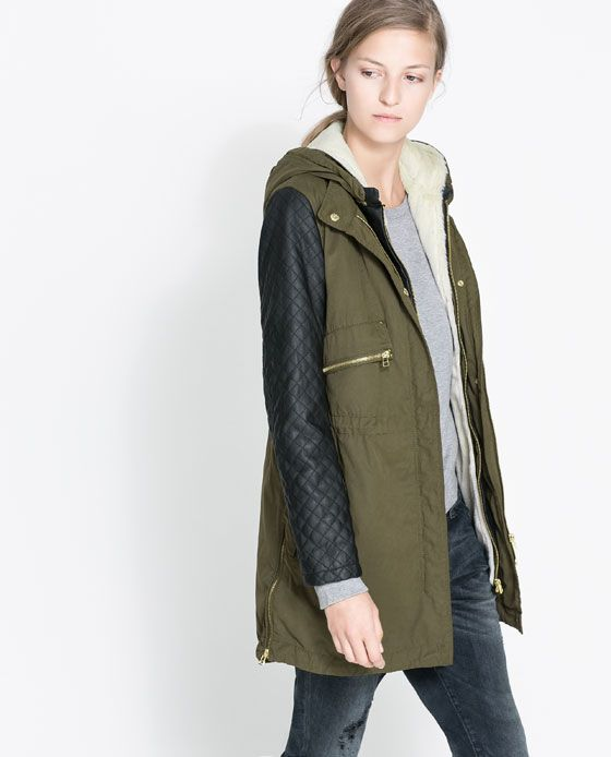 Green Parka Jacket With Leather Sleeves KFwsCx