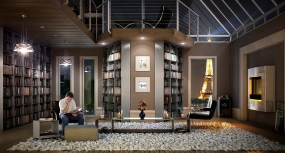 A dream library looking out to the Eiffel Tower. Also, in my dreams that's Nathan Fillion.: Interior Design, Home Libraries, Library Design, Contemporary Homes, Paris Apartments, Dream Home, Bookshelves Library Ideas, Design Idea