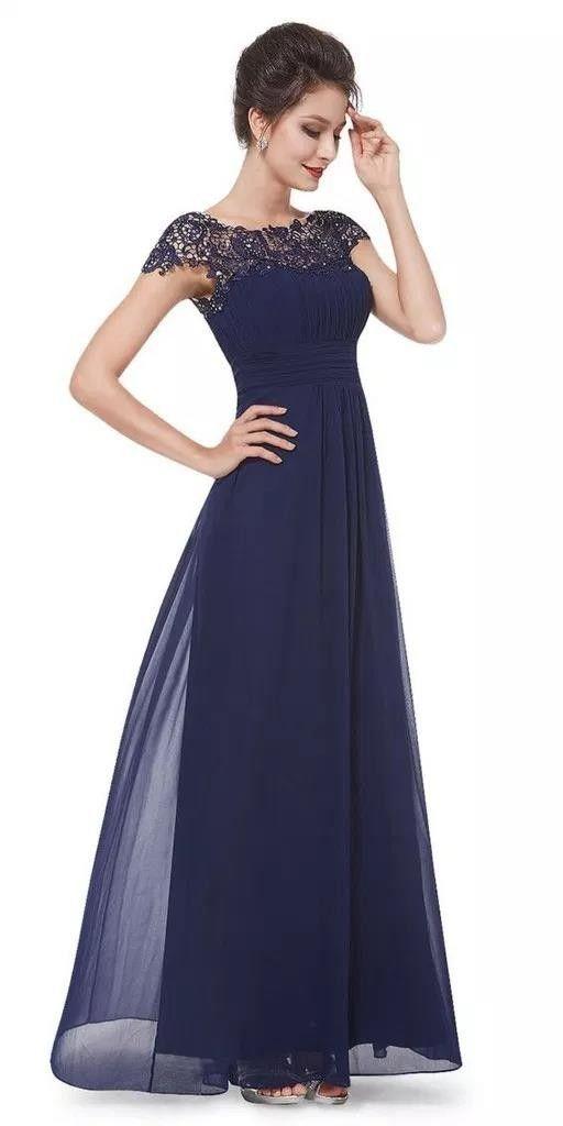 Dunkelblaues Kleid Für Hochzeit