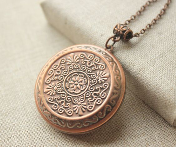 Large Locket Necklace Antiqued copper locket long Chain Necklace secret message locket gift to sister mother girlfriend daughter N205