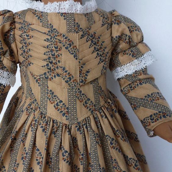 "1830's dress in tan and blue for your 18"" American Girl dolls. $25.00, via Etsy."