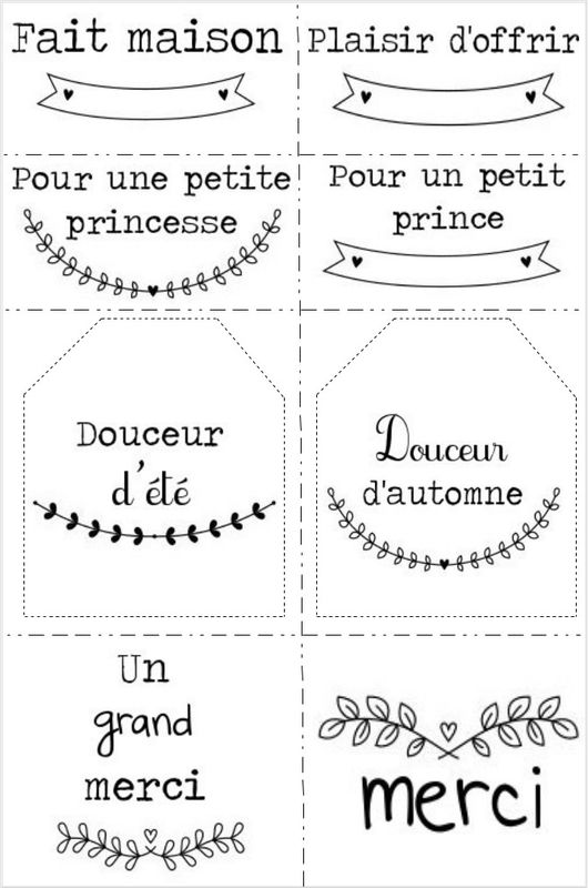 tiquettes cadeau fait maison imprimer printables diy id es cr atives diy pinterest. Black Bedroom Furniture Sets. Home Design Ideas