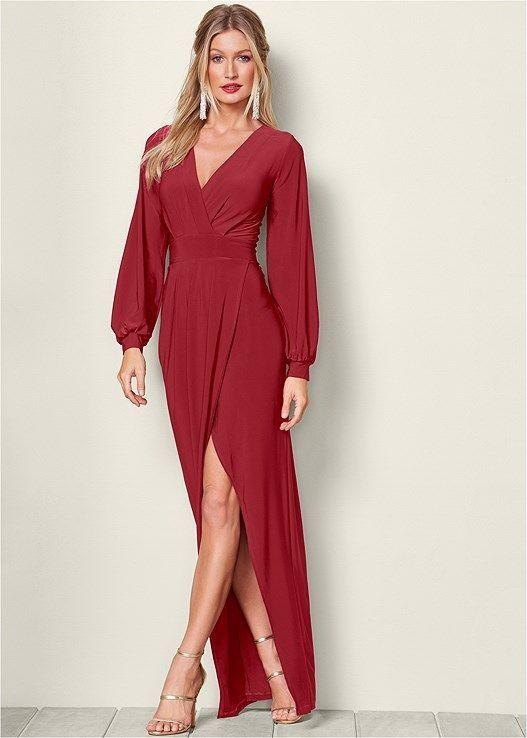Venus Women's Surplice Detail Long Dress
