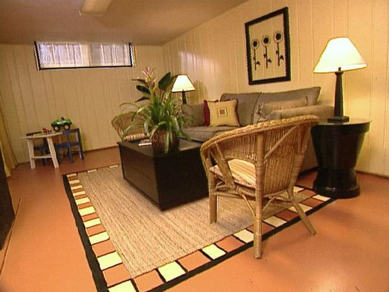Diy unfinished basement decor colorful recreation room for Rec room decorating ideas