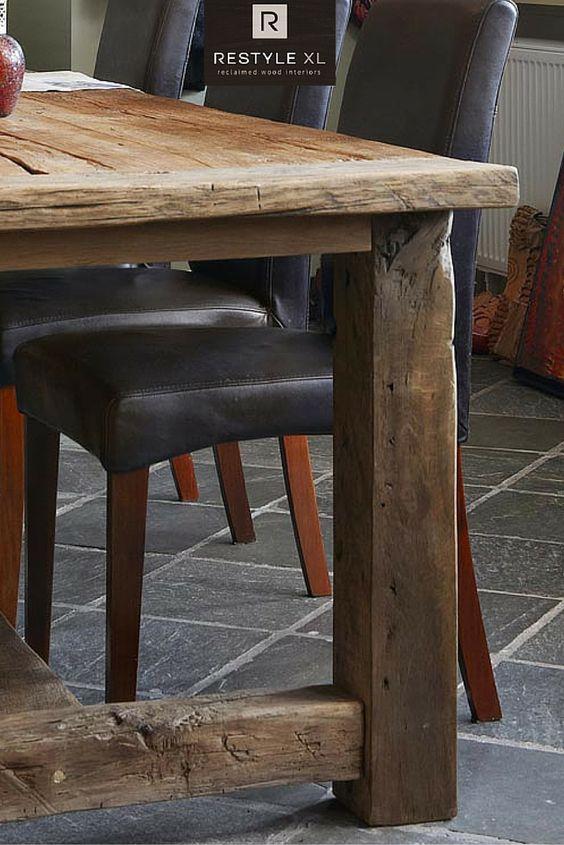 Landelijke kloostertafel van oud eiken #restylexl #eiken #tafel #eettafel #tafels #oudhout #hout