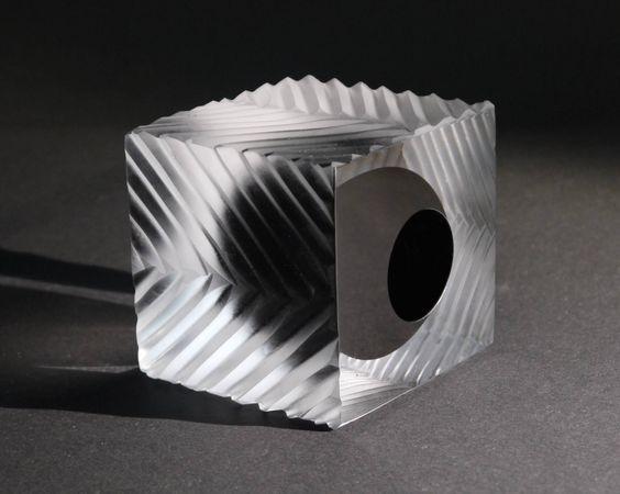 Herringbone Cube, a Glass on Glass by John Burton