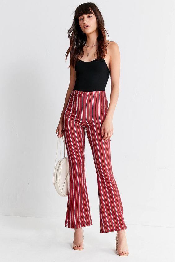 UO Striped Jersey Flare Pant | Urban Outfitters