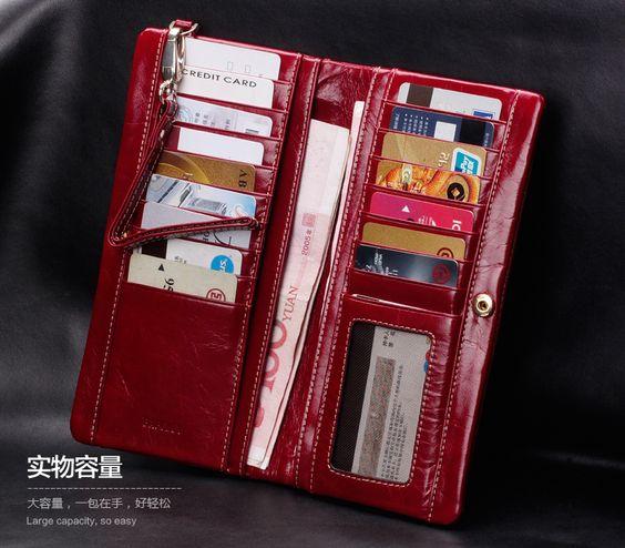 Feminina carteira de couro genuíno Nova chegada de luxo do vintage primeira camada de couro bolsa de longo carteira de design das mulheres d...