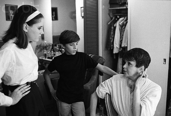 Lorna and Joey Luft with their mom Judy Garland, backstage at The Palace, 1967
