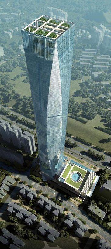 Arquitectura Futurista, Rascacielos, Torre, Guangxi Centro de Inversiones Financieras, Nanning, China por John Portman & Associates. 88 pisos, la altura de 400m.