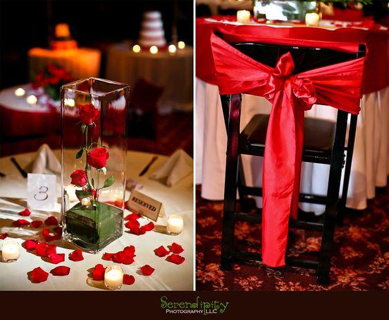 red white and black wedding decorations Houston wedding