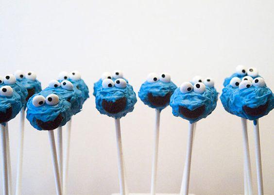 Cookie Monster cake pops  cake pops birthdays  cake by Cakepopstop, $35.00