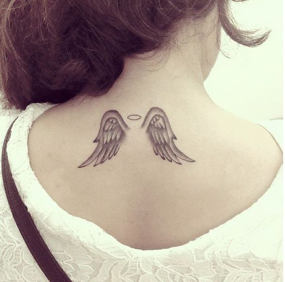 Small angel wings tattoo i love this tattoo designs for Angel wings tattoo with halo