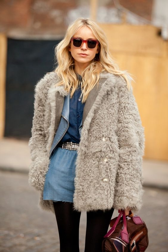 Fluffy fur coat. Latest fashion trends 2016.