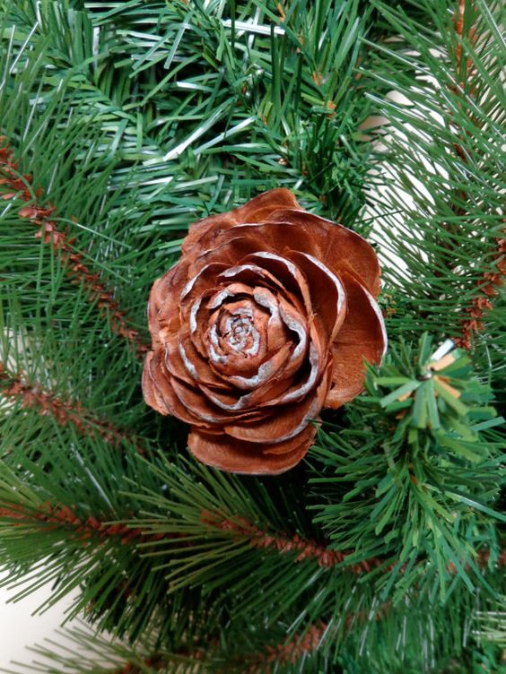 Large deodar cedar pine cone rose decoration christmas for Large christmas pine cones