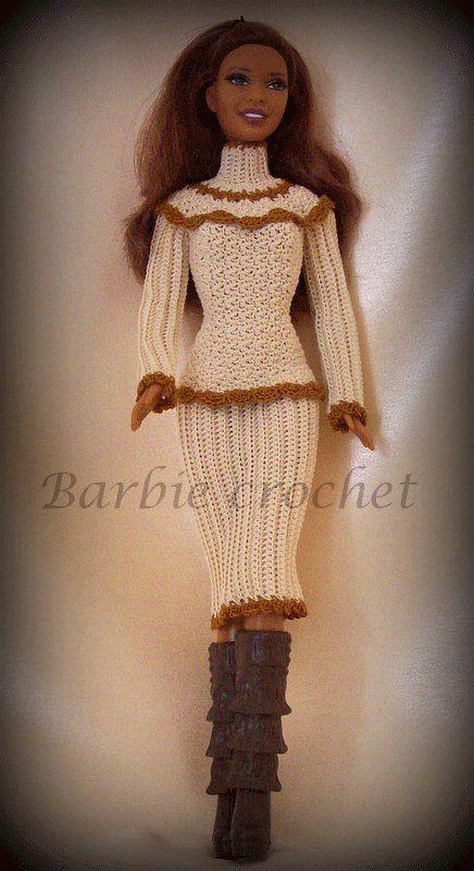 Abito all'uncinetto panna e marrone di Barbiecrochet su Etsy, €12.00