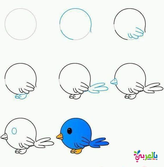تعليم الرسم للاطفال بالخطوات رسومات اطفال بالعربي نتعلم Bird Drawings Drawings Drawing Tutorial