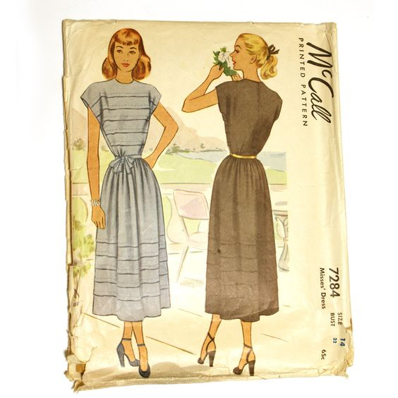 McCall 7284 Misses 1940s Sundress Pattern Horizontal Tucks Bust 32 Vintage Sewing Pattern Cap Sleeve. $10.00, via Etsy.