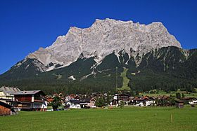 The Zugspitze, at 2,962metres above sea level, is the highest peak of the Wetterstein Mountains as well as the highest mountain in Germany. It lies south of the town of Garmisch-Partenkirchen, and the border between Germany and Austria runs over its western summit.