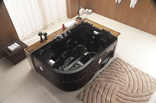 Two Person Jetted Massage Hydrotherapy Black Corner Tub With Bluetooth Model 52ab Whirlpool Hot Tub Whirlpool Bathtub Indoor Hot Tub