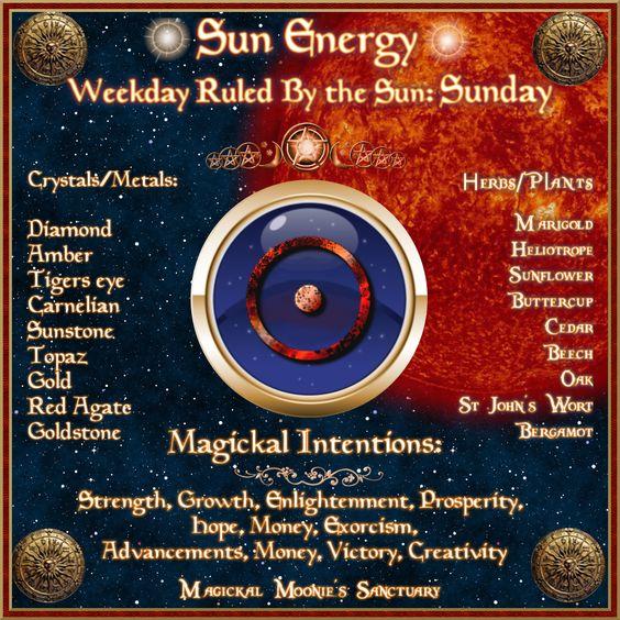 Magick Spells:   #Correspondences ~ SUNDAY ~ Sun Energy ~ Magickal Moonie's Sanctuary.